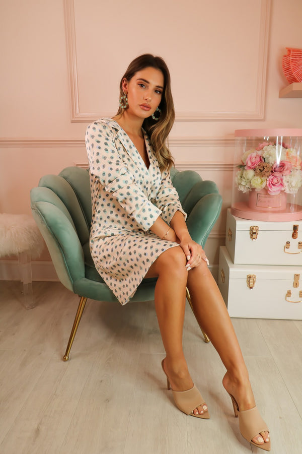 image 1 of CREAM GREEN SPOT BLAZER DRESS