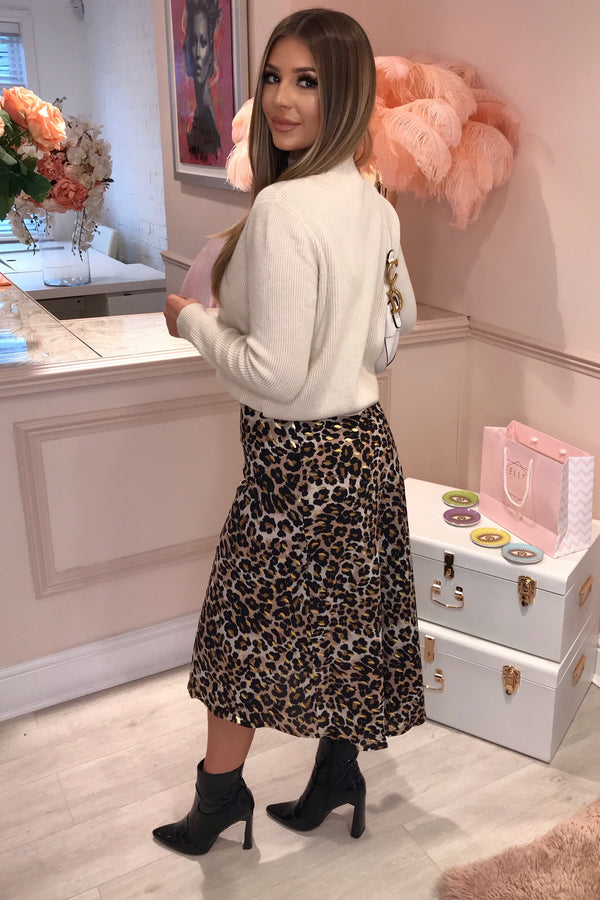 GIA BROWN LEOPARD MIDI SKIRT
