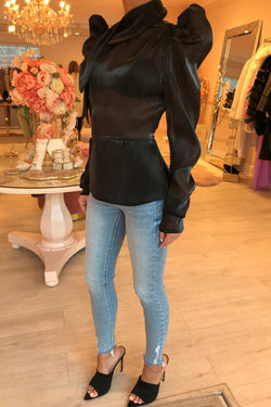 BLACK SILKY HIGH NECK BLOUSE