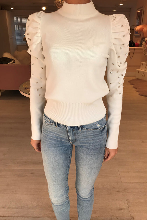 CREAM STUDDED HIGH NECK JUMPER