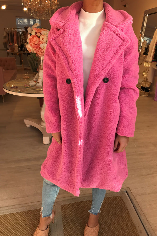 CANDY PINK TEDDY COAT