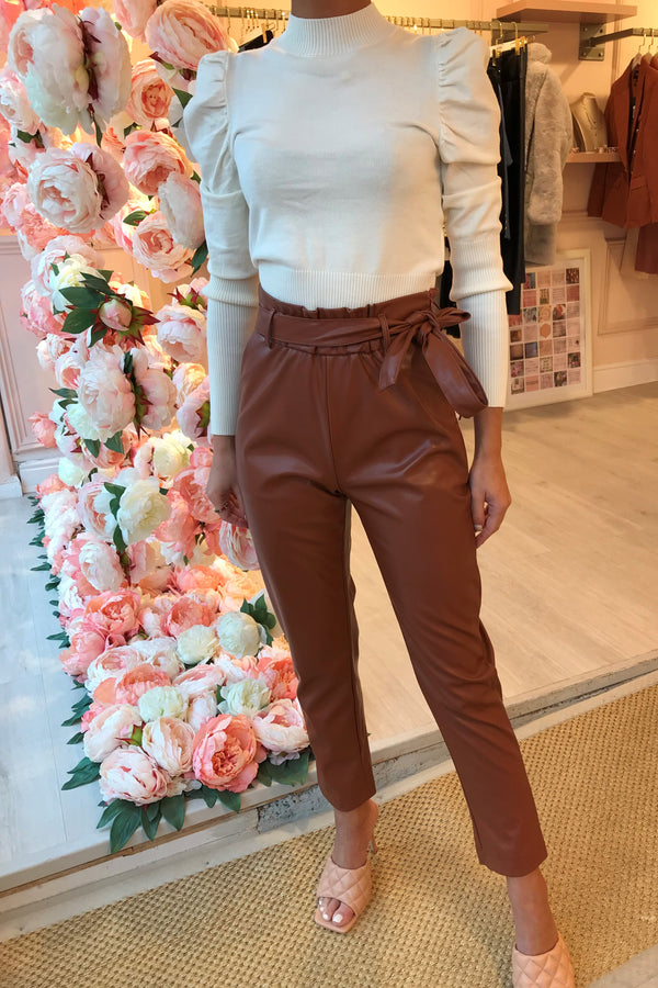 RUST FAUX LEATHER PAPER BAG WAIST TROUSER