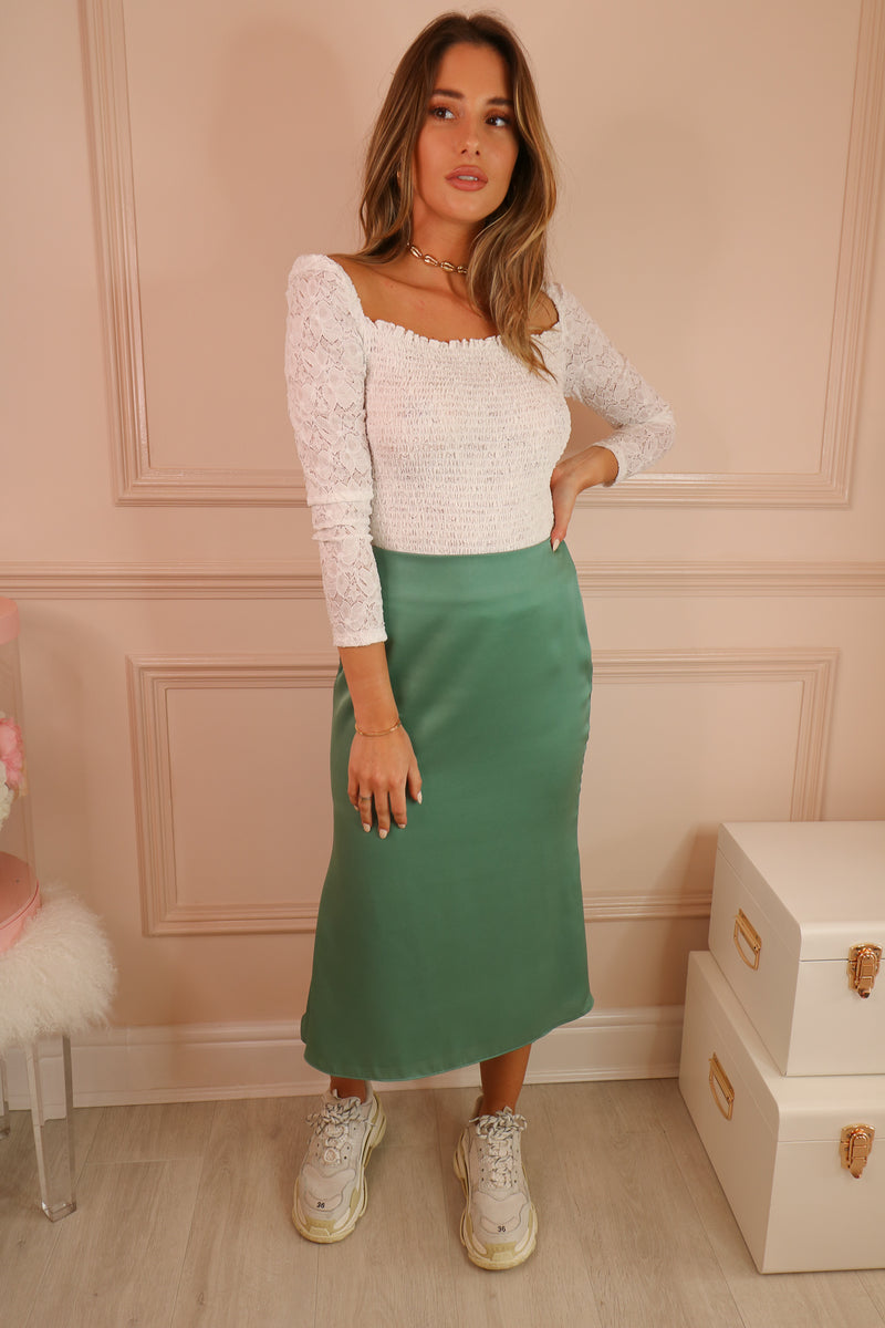 SEA GREEN MIDI SKIRT