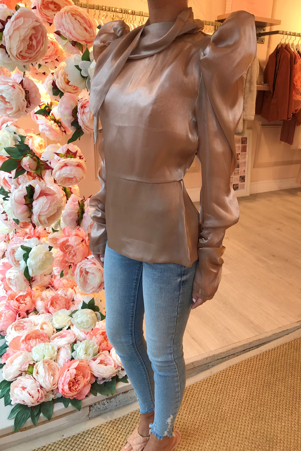 BEIGE SILKY HIGH NECK BLOUSE