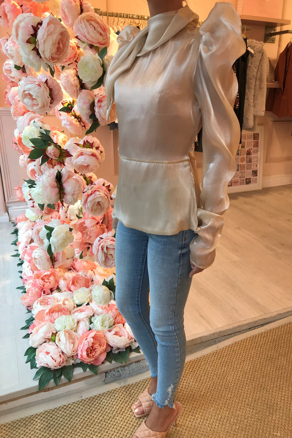 CREAM SILKY HIGH NECK BLOUSE