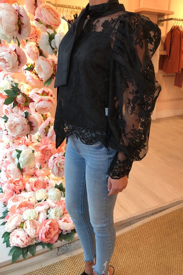 SIEA BLACK LACE TIE NECK BLOUSE