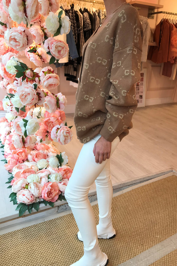 GG BEIGE OVER SIZED CARDIGAN