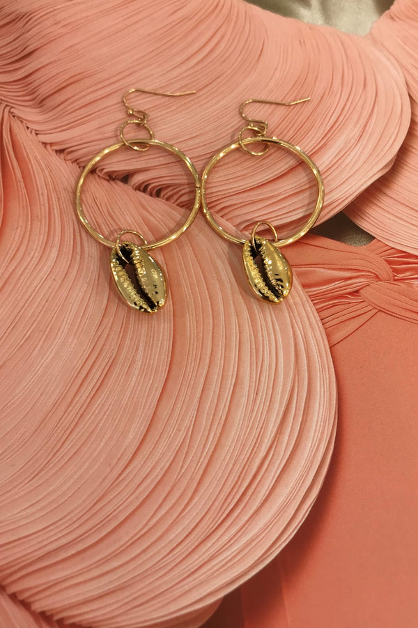 image 1 of SEA SHELL HOOP EARRINGS
