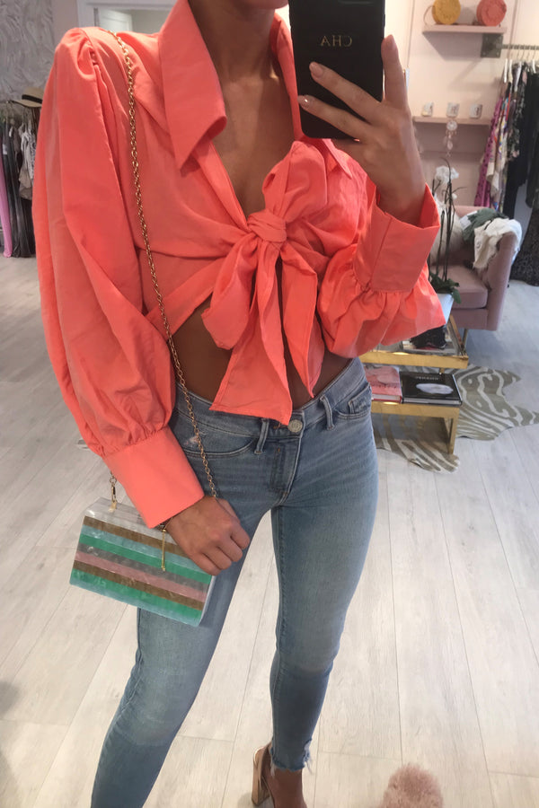 BELLA CROPPED TIE FRONT BLOUSE PINK