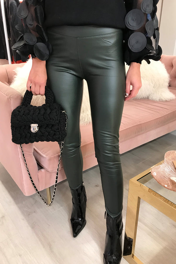 KHAKI FAUX LEATHER LEGGING WITH STRETCH