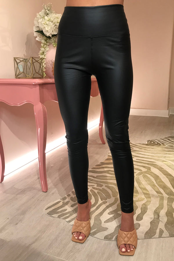BLACK FAUX LEATHER LEGGING WITH STRETCH
