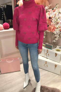 DARK PINK LOVE HEART KNITTED ROLL NECK JUMPER