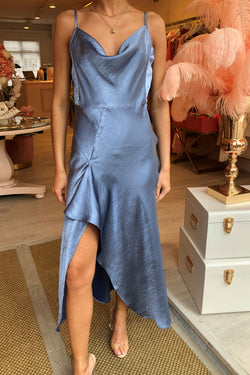 SILKY BLUE SLIP DRESS WITH RUFFLE DETAIL