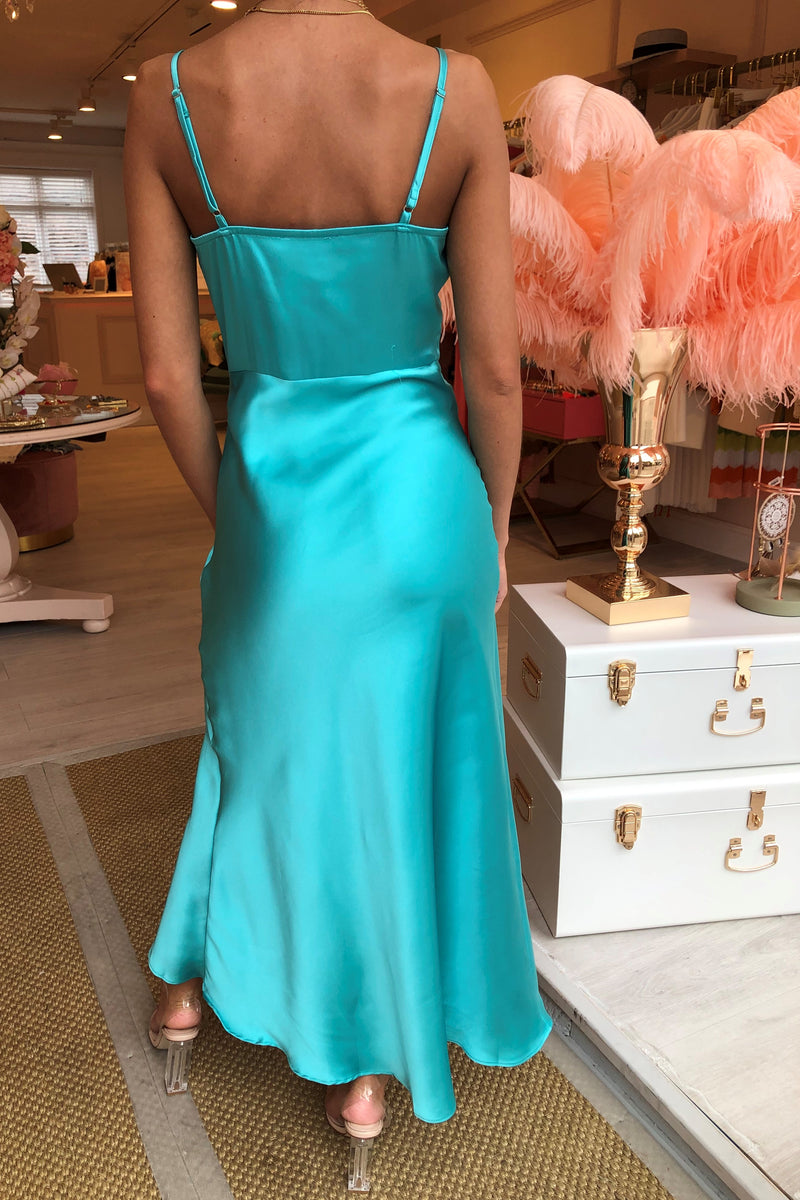 SILKY TURQUOISE SLIP DRESS WITH RUFFLE DETAIL