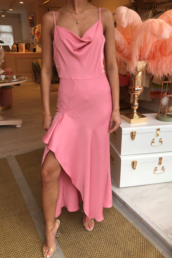 SILKY PINK SLIP DRESS WITH RUFFLE DETAIL