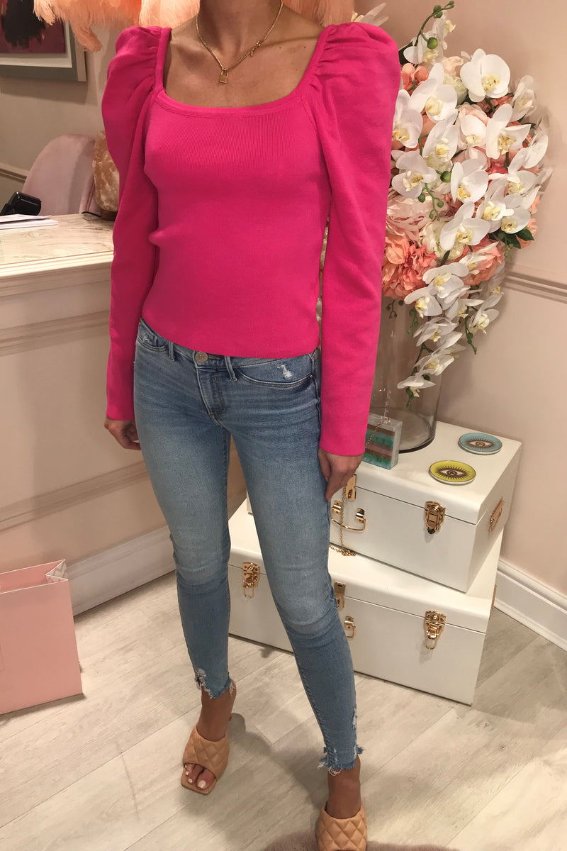 ELSIE PINK SQUARE NECK KNITTED TOP