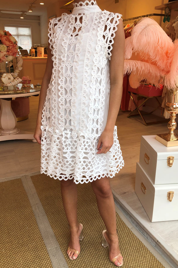 IDA WHITE CROCHET SLEEVELESS DRESS