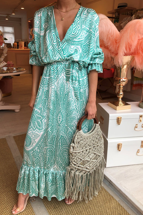 AVA GREEN PAISLEY MAXI DRESS