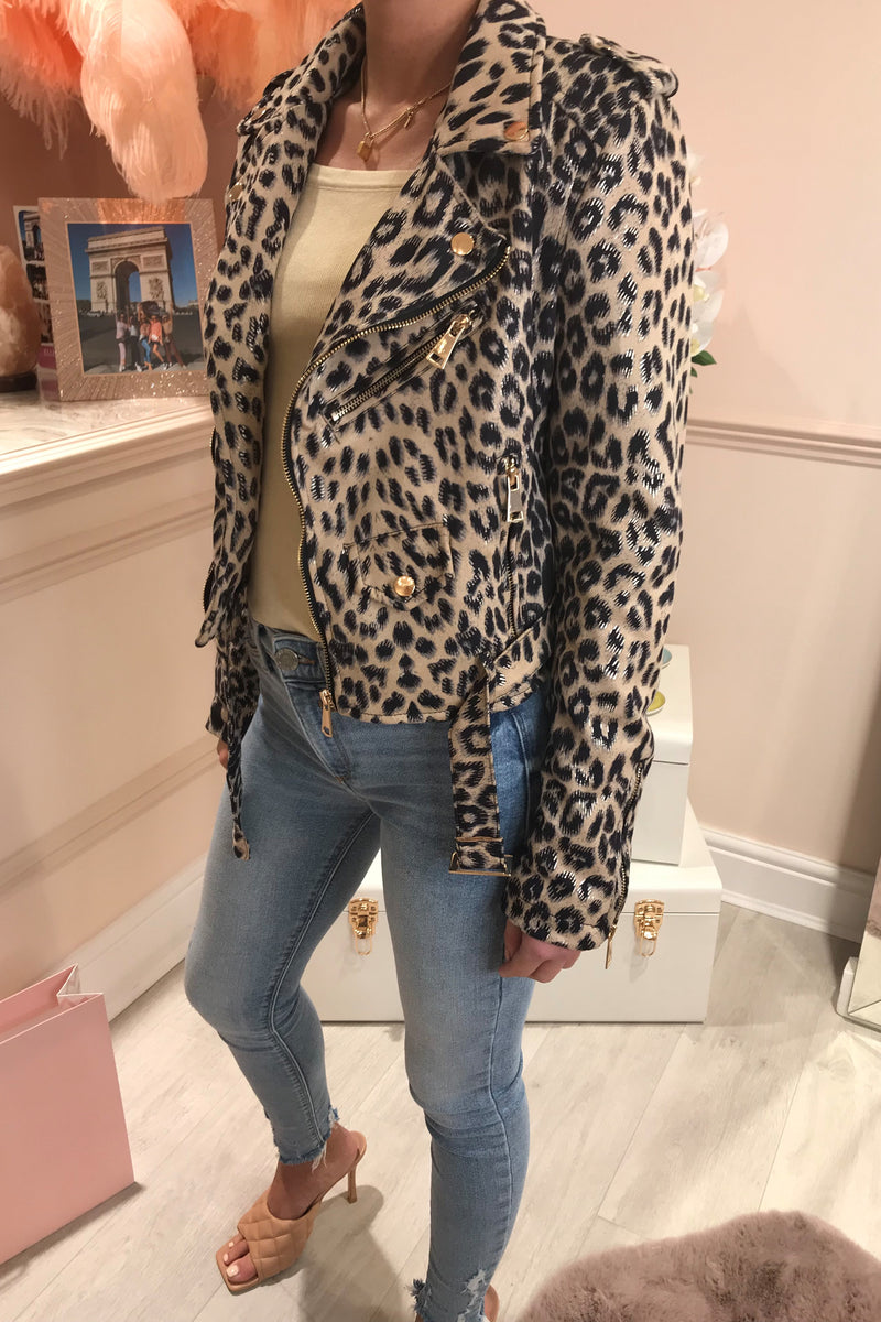 BROWN LEOPARD PRINT BIKER JACKET