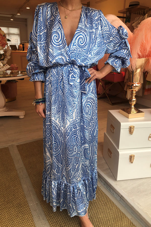 AVA BLUE PAISLEY MAXI DRESS