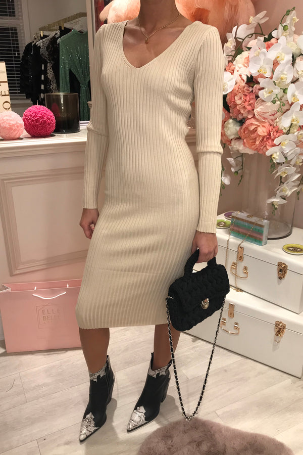 FELICITY VNECK RIBBED BEIGE MIDI DRESS