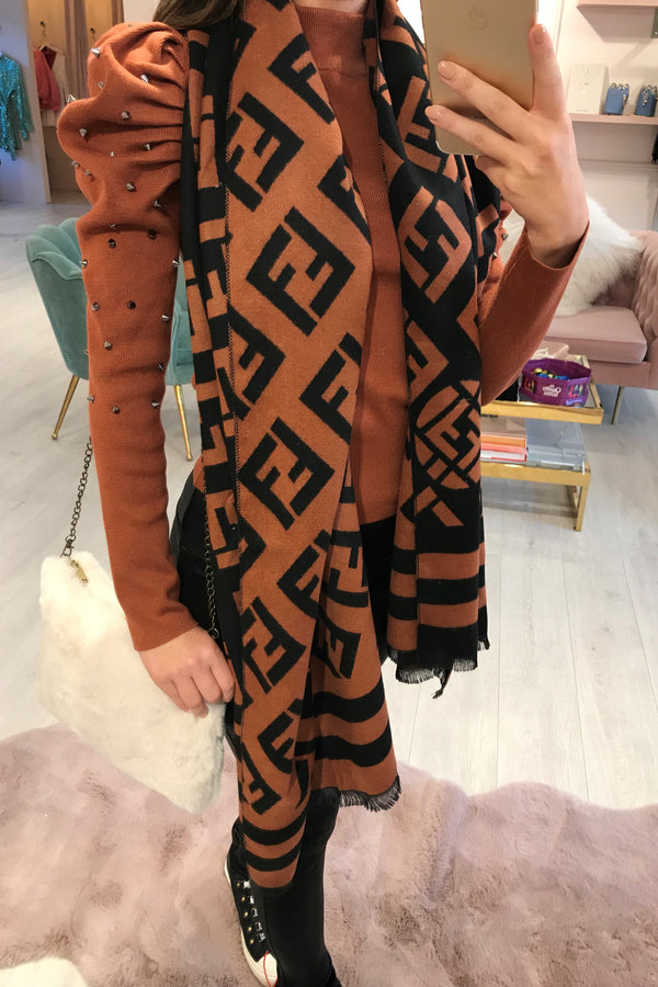 RUST/BLACK PRINTED SCARF