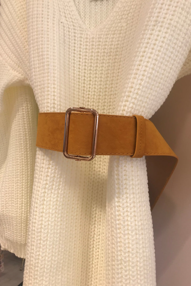 image 1 of MUSTARD FAUX SUEDE BELT