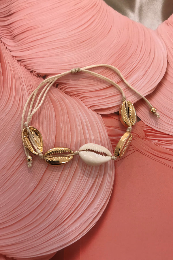 SEA SHELL BRACELET ALL GOLD 1 CREAM