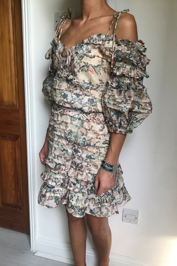 image 1 of FLORAL PUFF SLEEVE MINI DRESS