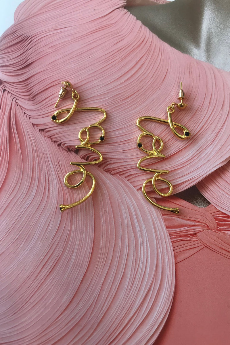 image 1 of LOVE SLOGAN GOLD EARRINGS