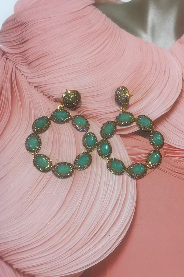 image 1 of LUNA TURQUOISE AND GOLD CRYSTAL EARRINGS