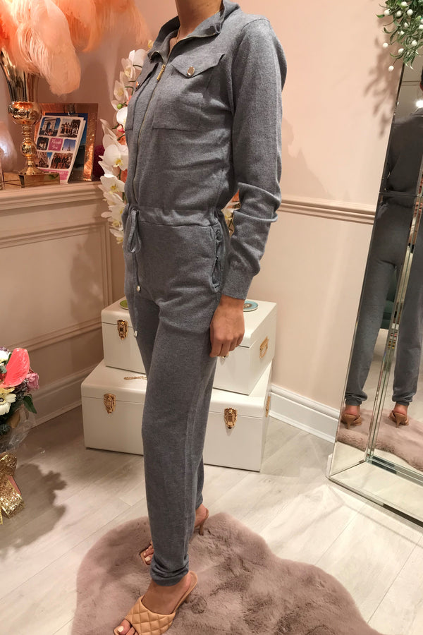 GREY KNITTED BOILER SUIT