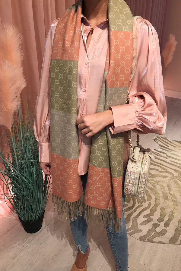 GREEN/CORAL PRINTED SCARF