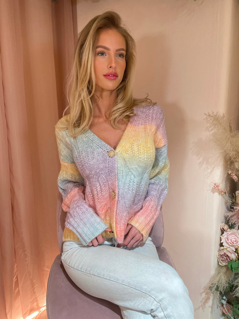NERA PASTEL WOVEN KNIT CARDIGAN WITH GOLD BUTTON