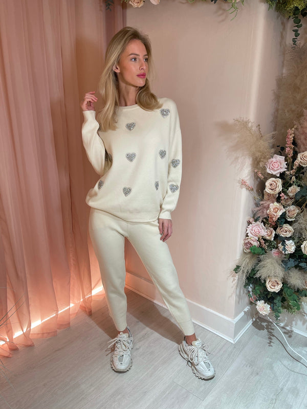 CREAM LOVE HEART EMBELLISHED TRACKSUIT