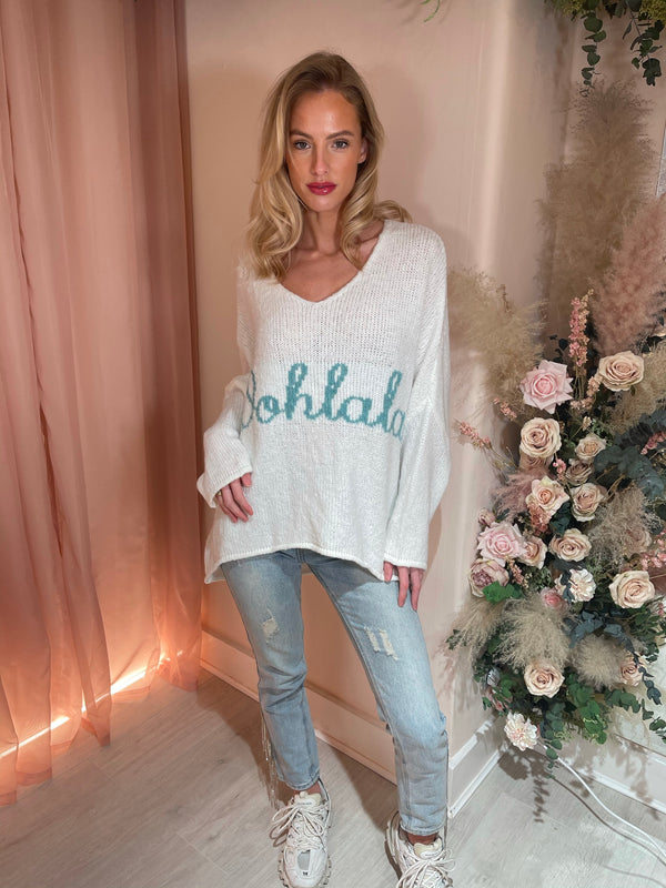 OOHLALA OFF WHITE KNITTED JUMPER w/blue