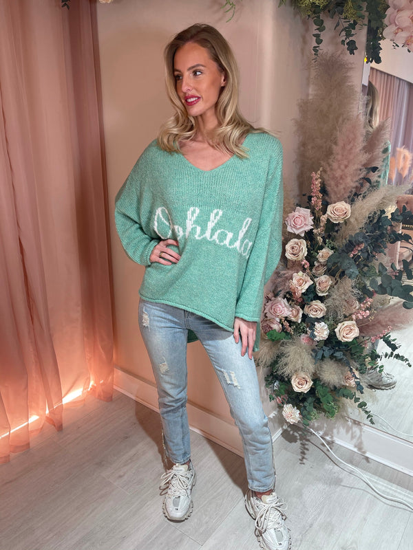 OOHLALA GREEN KNITTED JUMPER