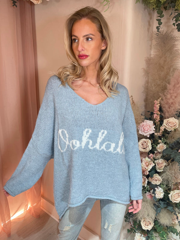 OOHLALA BLUE KNITTED JUMPER