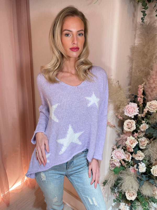 SHOOTING STARS LILAC KNITTED JUMPER