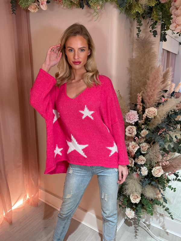 SHOOTING STARS FUSCHIA KNITTED JUMPER