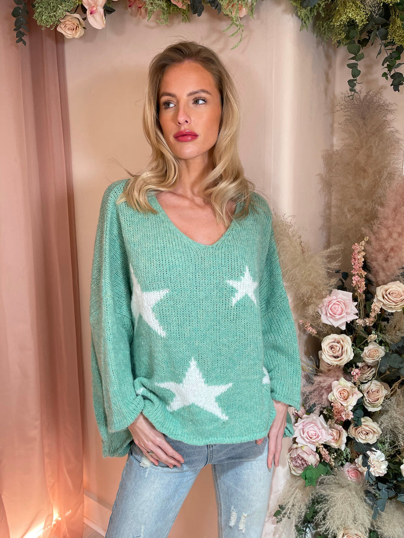 SHOOTING STARS GREEN KNITTED JUMPER