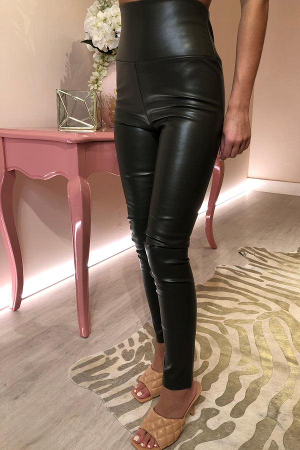 KHAKI FAUX LEATHER LEGGING