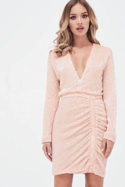 f2dce089 LAVISH ALICE pleated sequin ruched side mini dress in pink – Elle ...
