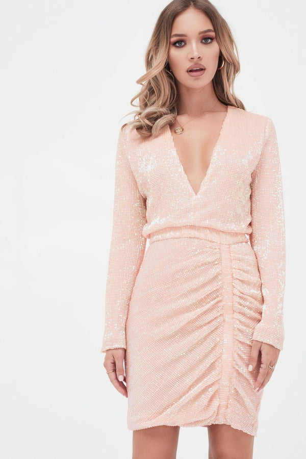 LAVISH ALICE pleated sequin ruched side mini dress in pink