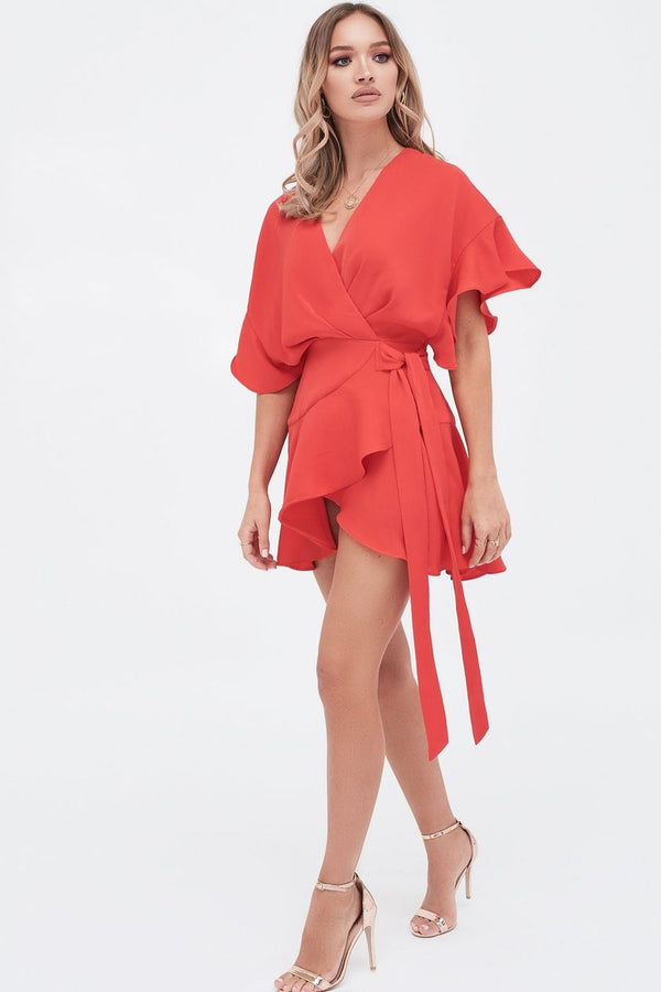LAVISH ALICE frill sleeve wrap mini dress in scarlet red