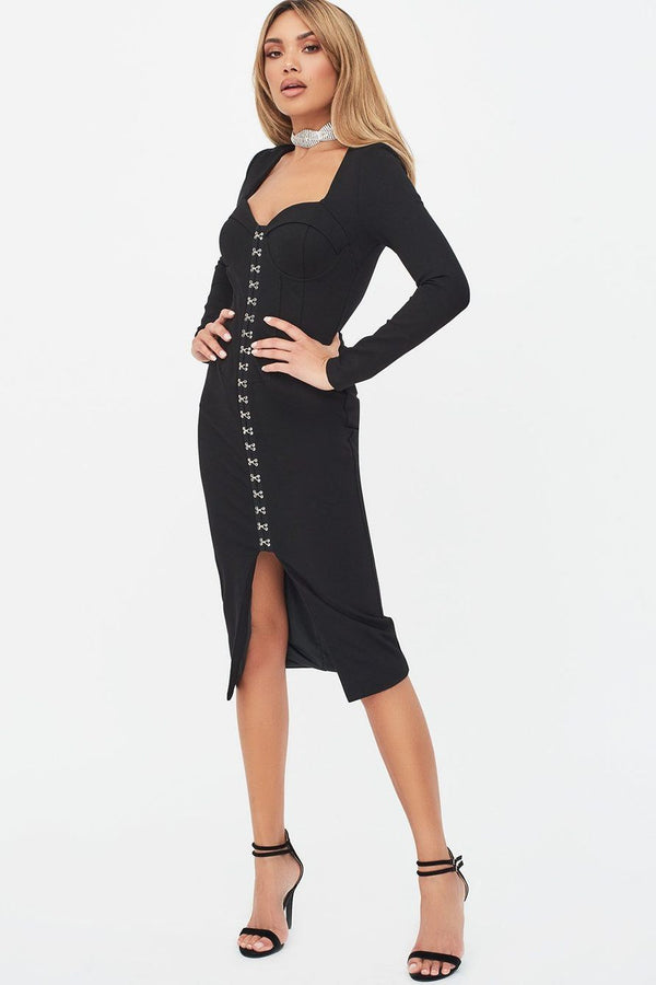 BLACK SQUARE NECK CORSET MIDI DRESS