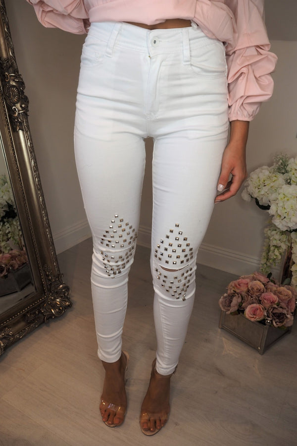 image 1 of DOWNTOWN STUDD JEANS WHITE
