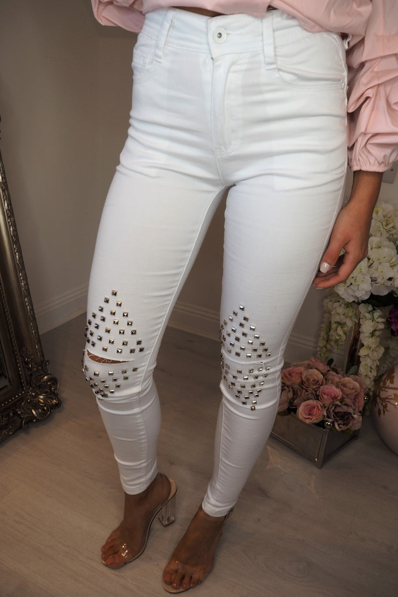 image 2 of DOWNTOWN STUDD JEANS WHITE