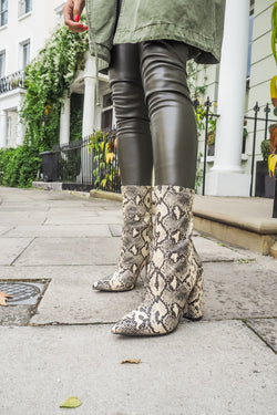 image 1 of CREAM SNAKE BOOTS