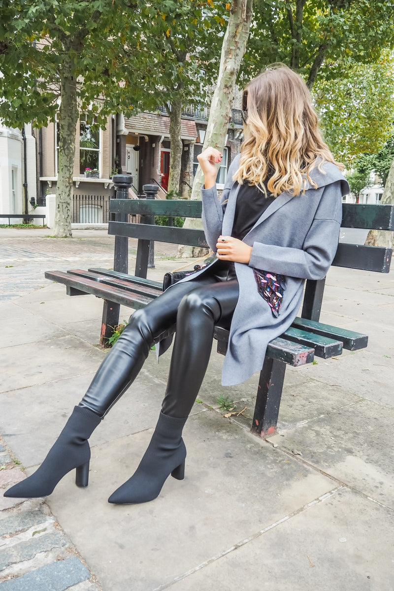 image 2 of BLACK FAUX LEATHER LEGGING